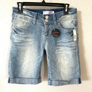 No Boundaries Distressed Roll Up Jean Short  7